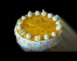 Торт «Загадочный» (бисквитный корж, сливки, фрукты)