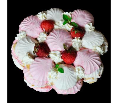 Торт «Зефирный» (бисквит коржи, сливки, зефир)